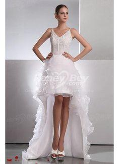 V Neck Handmade Beading Unique Vintage Wedding Dress