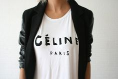 Celine Paris Inspired Logo Tee Shirt by Sagesells on Etsy