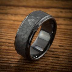Men's Wedding Band Comfort Fit Interior Hammered Black Zirconium Ring (299.00 USD) by spexton