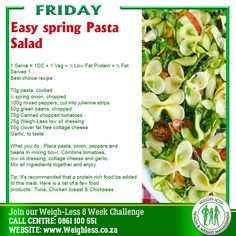 Weigh-Less Best Choice Recipe Pasta Recipes, Cooking Recipes, Healthy Recipes, Healthy Meals, Yummy Recipes, Low Fat Protein, Creamy Chicken Pasta, Family Meals, Family Recipes