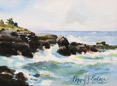 Windy at the Point by Poppy Balser Watercolor ~ 5 x 7