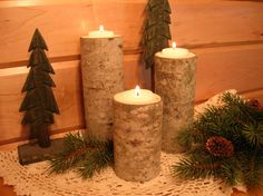 aspen log candle holders wedding decor - Christmas Log Candle Holder Decorations