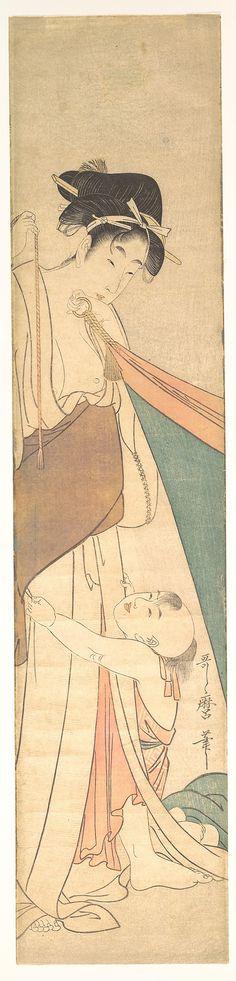 Woman and Child  Kitagawa Utamaro  (Japanese, 1753–1806)  Period: Edo period (1615–1868) Date: ca. 1795 Culture: Japan Medium: Polychrome woodblock print; ink and color on paper