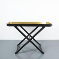 Luigi Caccia Dominioni Black Wood Console Tray Table, Italy, circa 1970