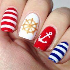 nails.quenalbertini: Red, Blue & Gold Nautical Nails with Anchor