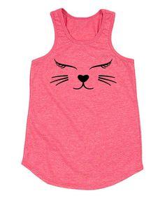 Heather Hot Pink Cat Face Racerback Tank - Toddler & Girls