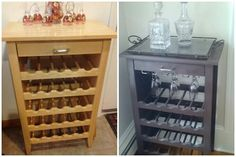 Sanded & Spray-painted refurbished wine rack. Added glass racks.