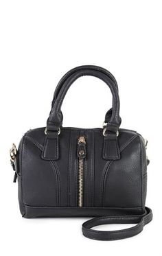 Deb Shops Two Handle Satchel with Vertical Zipper and Long Strap