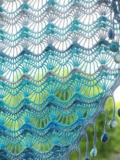 """Oceania"" (crochet shawl, lace wrap, crochet lace, crochet cotton shawl)"
