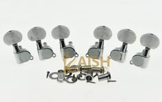 KAISH Chrome w/ Pearl Buttons Guitar Tuners Tuning Keys for Acoustic Electric Guitars