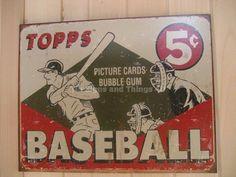 Topps Baseball 5¢ Cards TIN SIGN retro vtg metal poster wall decor batter 1643