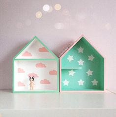 Popular Set House Shaped Shelf Wooden House Shelf Kids by Purplepollen