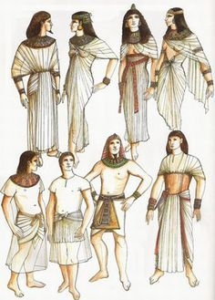 The men's garment were called shenti, wrapped around at the waist covering the body. Some of them had cords attached to tie the garment, and in others the fabric's knotted at the waist or held up with a knotted cloth belt. The shenti evolved from a short kilt to a longer kilt, extending to the ankle. Egyptian men often went shirtless and sometimes wore a plain shirt-like garment with their shenti, belted with cloth.