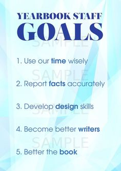 Yearbook staff goals poster - a great way to start out the year and encourage yearbook students to take responsibility for their yearbook!:
