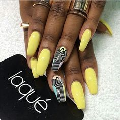 Nails by: Laque' Nail Bar Yellow Fabulous Nails, Gorgeous Nails, Love Nails, Pretty Nails, My Nails, Laque Nail Bar, Finger, Girls Nails, Nail Envy
