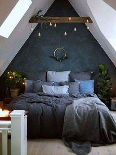 Blue Bedroom Decoration Ideas to Bring Perfection in Your Private Room - Wohnideen - Schlafzimmer Bedroom Loft, Dream Bedroom, Home Decor Bedroom, Dark Cozy Bedroom, Diy Bedroom, Bedroom Furniture, Modern Bedroom, Trendy Bedroom, Bedroom Colors