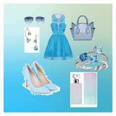 """""""Blue Elegance set"""" by sabypolivore ❤ liked on Polyvore featuring JustFab, Christian Dior, Tory Burch and Calvin Klein"""