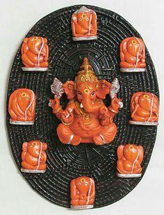 Ashtavinayaka - Eight Form of Lord Ganesha (Wall Hanging) Shri Ganesh Images, Sri Ganesh, Ganesh Lord, Ganesha Pictures, Ganesh Idol, Ganesha Art, Om Namah Shivaya, Shiva Meditation, Ganpati Bappa Wallpapers