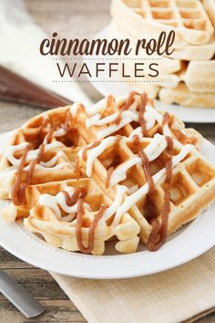 Cinnamon Roll Waffles - crisp, buttery, tender waffles, topped with an amazing combination of sweetened cream cheese and a cinnamon brown sugar topping. Each bite tastes just like a homemade cinnamon roll, but they're so much faster and easier to make! Breakfast Waffles, Breakfast Items, Pancakes And Waffles, Breakfast Dishes, Breakfast Recipes, Fluffy Waffles, Mexican Breakfast, Pancake Recipes, Breakfast Sandwiches