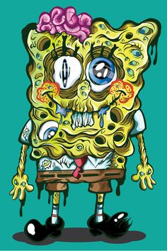 painting and drawing on nightmare cartoons - Bing images Horror Cartoon, Zombie Cartoon, Cartoon Art, Arte Zombie, Pop Art Zombie, Zombie Drawings, Trippy Drawings, Arte Horror, Horror Art