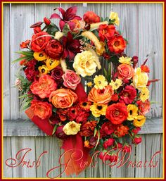 Summer Sunset Cottage Rose Garden Wreath, Red floral wreath, rust yellow orange Peach Wreath, Large Fall Wreath, Deluxe wreath