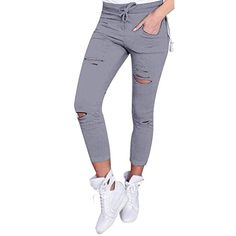 3af6a3eff7a Clearance! FDelinK Women High Waist Skinny Ripped Jeans Distressed Stretch  Pencil Pants Boyfriend Trouser Denim