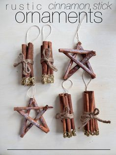 DIY Rustic Cinnamon Stick Ornaments – Consider the Peel Part two of my tree decorating frenzy included making rustic ornaments made from cinnamon sticks. I've got two different tutorials here for you today, each super easy and super cute. Rustic Christmas Ornaments, Christmas Decorations, Christmas Holiday, Navidad Natural, Cinnamon Ornaments, How To Make Ornaments, Ornaments Ideas, Ornament Crafts, Diy Weihnachten