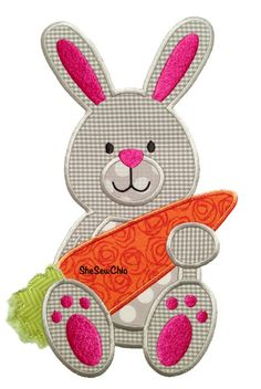 Bunny with Carrot- Perfect for Easter and Spring - Digital Applique Embroidery… Baby Embroidery, Applique Embroidery Designs, Applique Patterns, Applique Quilts, Quilt Patterns, Machine Applique, Machine Embroidery, Sewing Crafts, Sewing Projects