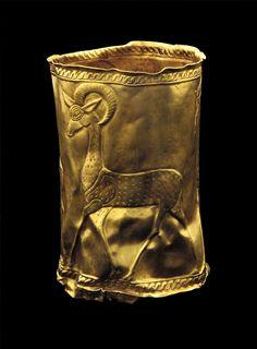 Cup Medium: Gold Type: Metalwork, Vessel Origin: Southwest Caspian, Iran Topic: antelope, Iran, gold Date: 800-700 B.C.E. Data Source: Freer Gallery of Art and Arthur M. Sackler Gallery