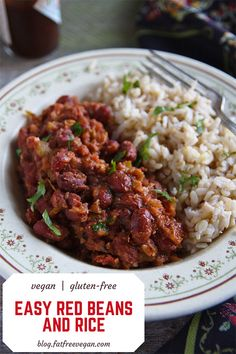 Beans and Rice By: FatFree Vegan Kitchen - I made this last night and Easy Red Beans and Rice By: FatFree Vegan Kitchen - I made this last night and . -Easy Red Beans and Rice By: FatFree Vegan Kitchen - I made this last night and . Whole Food Recipes, Cooking Recipes, Healthy Recipes, Slow Cooking, Cooking Time, Vegan Bean Recipes, Microwave Recipes, Vegan Recipes Kidney Beans, Easy Kidney Beans Recipe