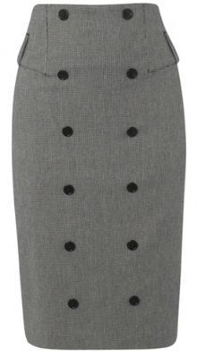 Grey wool pencil skirt with buttons