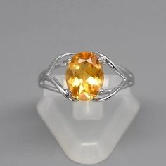 9x7mm Natural Medium Yellow Citrine Ring in 925 Silver #30703 #Multajewelry #SolitairewithAccents
