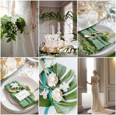 Our luxury green, gold and white wedding styling and design at the stunning North Of England Boutique Wedding Venue Acklam Hall. Our crystal candelabra, gold lanterns and votives, gold cutlery and charger plates, make a statement alongside our exotic green and white wedding. Images Georgina Harrison flowers