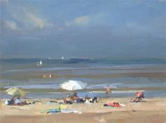 """Daily Paintworks - """"Zonnig aan het strand - witte ..."""" by Roos Schuring"""