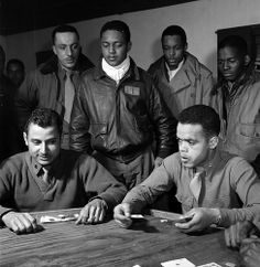 "In March Toni Frissell took more than 280 photographs of the ""Tuskegee Airmen,"" the elite, all-African American Fighter Group at Ramitelli, Italy. Military Men, Military History, Tuskegee Airmen, Black History Facts, African American History, Native American, Black People, Casino Night, Historical Photos"