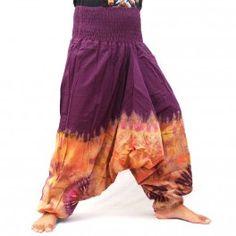Afgani de harén pantalones batik de algodón - púrpura
