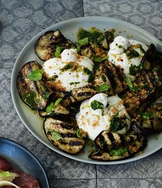Australian Gourmet Traveller recipe for burrata with char-grilled eggplant. Serve with carpaccio or charcuterie.