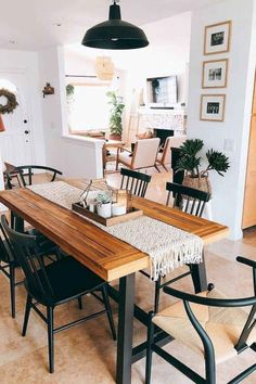 32 Lovely Family Dining Room Design And Decor Ideas Farmhouse Dining Room decor design Dining Family Ideas Lovely Room Table Design, Dining Room Design, Dining Rooms, Dining Room Table Decor, Dinning Room Ideas, Dining Table Decor Everyday, Wood Table, Everyday Table Settings, Dining Table Upcycle