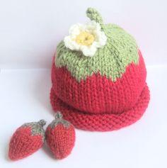 Baby strawberry hat - hand knitted - photo prop - 3 to 6 months girl - strawberry shortcake - vegan - summer baby shower. £9.50, via Etsy.