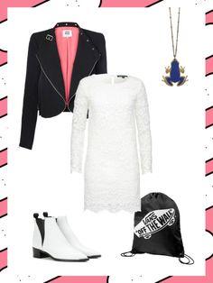 What to wear to work: das perfekte Büro-Outfit mit weißem Spitzen-Kleid. Als Stilbruch dazu Lederjacke, Turnbeutel und weiße Boots.
