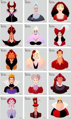 Disney Villains, by MarioOscarGabriele - Disney/ Pixar/ DreamWorks - Disney Pixar, Disney Magic, Retro Disney, Disney And Dreamworks, Disney Parks, Evil Queen Disney, Disney Rapunzel, Modern Disney, Disney Films