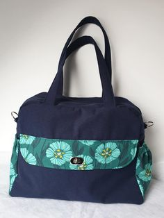 Sac à langer Boogie bleu et vert cousu par Gaëlle - Patron sac à langer Sacôtin
