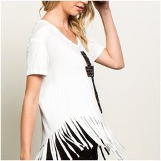 Holy Fringe Sequin cross detail fringe top  60% Cotton, 35% Polyester, 5% Spandex POL Tops Tees - Short Sleeve