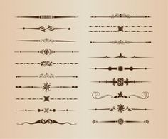 set of divider ornamental rule line design elements