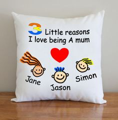 This listing is for one personalized hand-painted cushion cover. A great gift idea for Mom, Mum, Mother! Specify how many children, together with their names. We will provide the cute cartoon children from our collection, or we can create new ones to suit. Draft images are provided so you can see how your cushion cover will look before we begin, thus ensuring we get this just right for you. These can be fully customized to suit your needs and measure 20 x 20 inches. We use 100% high grade…