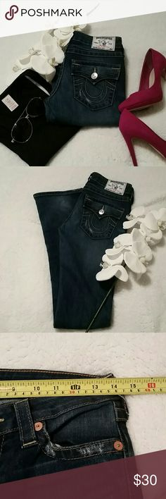 True religion jeans-size 26 long Medium/dark wash, they are a little lighter then pics, softer denim, factory destressing. In great condition. Slim boot cut/straight leg No trades All sales are final True Religion Jeans Straight Leg