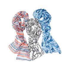 Three scarves x in seafaring prints (red, white and blue abstract stripes, black and white rope print and blue and white boat print). Hand wash, line dry. Nautical Looks, Nautical Design, Avon Fashion, Avon Online, Skinny Scarves, Signature Collection, Blue Abstract, Scarf Styles, Looking For Women