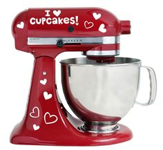 I Love Cupcakes With Hearts Design Kitchenaid Mixer Mixing Machine Decal Art Wrap ** Details can be found by clicking on the image.