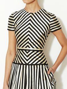 Silk-Cotton Geometric Striped Cocktail Dress by Valentino at Gilt