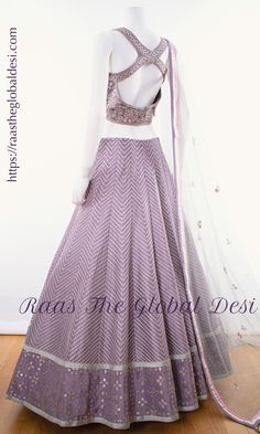 BRIDAL LEHENGA ONLINE Featuring a lavendar lehenga. This lehenga is beautified with heavy embroidery & lace work within the attire . Party Wear Indian Dresses, Dress Indian Style, Indian Fashion Dresses, Indian Designer Outfits, Indian Outfits, Indian Designers, Indian Wear, Long Gown Dress, Lehnga Dress
